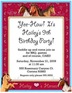 Personalized Birthday Party Invitation Red Cowgirl Cowboy Cute