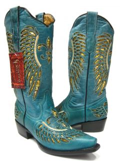 LADIES TURQUOISE LEATHER WESTERN COWBOY BOOTS WITH WINGS & FLOWERS