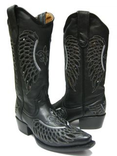 Black Leather Western Cowboy Boots with Wings Flowers Snip Toe