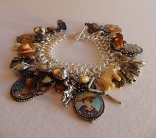 COWGIRL Charm Bracelet, Altered Art, Boots, Vintage Cowgirl, Horse