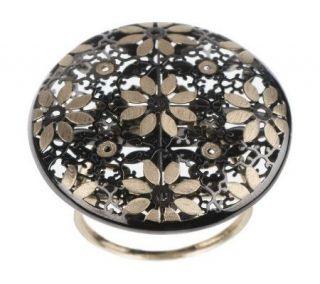VicenzaGold Round Satin &Polished Flower Ring 14K Gold   J261689