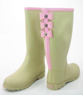 Dirty Laundry Womens Roxette Plain Rub Khaki w Pink Bows Rain Boots