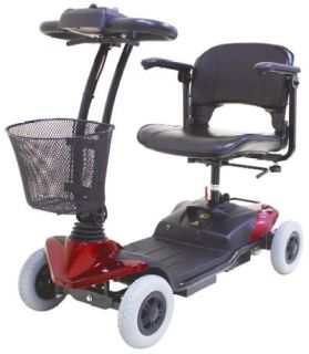 HS 118 4 Wheel Electric Mini Mobility Travel Scooter Foldable Seat Red