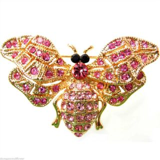 Bee Honeybee Hornet Wasp Red Pink Crystal Brooch Pin B7344