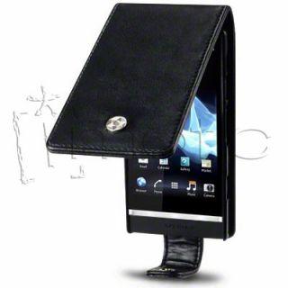 Funda Cuero Piel Negra Sony Ericsson Xperia P LT22i Color Negro Black