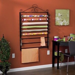 Black Gift Wrapping Paper & Craft Storage Rack Organizer Wrap Station