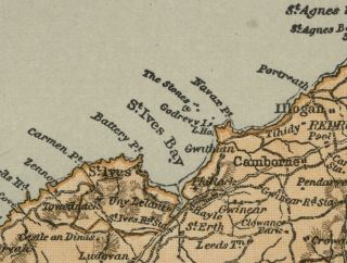 Cornwall County England Detailed 1889 Map Showing Towns Cities