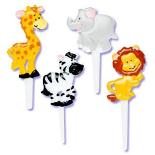 ZOO ANIMALS CUPCAKE PICKS Cake Toppers Party Favors Decorations Jungle