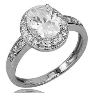 Oval Cut Cubic Zirconia Sterling Silver Rhodium Plated Engagement