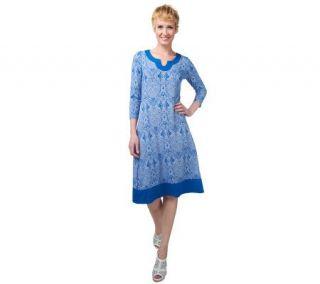 Liz Claiborne New York 3/4 Sleeve Medallion Print Dress   A220838