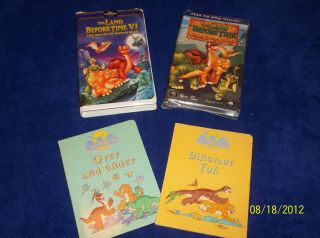 Set 2 Land Before Time VHS 2 Board Books Over and Under Dinosaur Fun