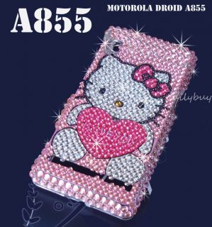 Droid 1 A855 Rhinestones Crystal Glitter Bling Phone Case Cover Skin