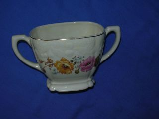 Vintage Crooksville China Co Sugar Bowl Yellow Pink Blue Floral Gold
