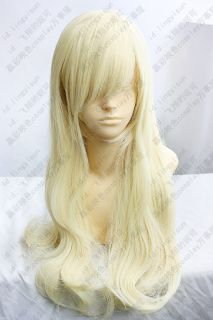 COS Wigs Kashiwazaki Sena Long Light Blonde Cosplay Wavy Wig 80cm
