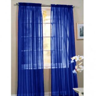 HLC Me 4 Pcs of Navy Blue Sheer Curtains Window Treatment Panel