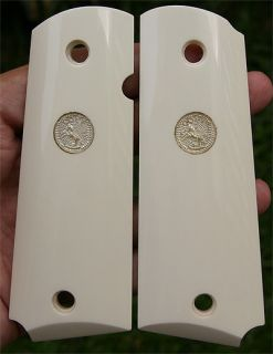 Colt 1911 Grips Custom Handmade Real Buffalo Bone with Silver