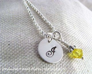 Sterling Silver Hand Stamped YOUR Initial Necklace Personalized Custom