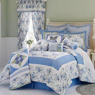 9pc Twin Blue White Cottage Comforter Quilt Sham Bskirt Drapes Pillows
