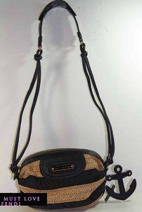Auhenic JUICY COUURE Lurex Sraw Barrel Crossbody Hobo bag purse