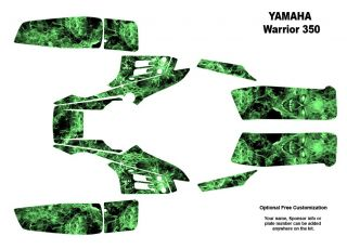 YAMAHA Warrior 350 Quad Graphic Decal Sticker kit 9500GREEN