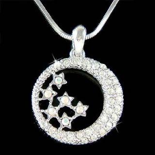 Swarovski Crystal Dream Bride CRESCENT MOON STAR Pendant Necklace