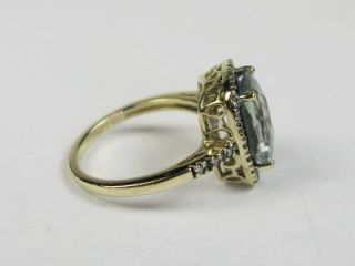 Natural Checkerboard Cut Cut Aquamarine 10K Yel Gold Ring 4G