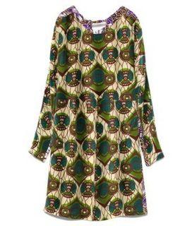 BNWT H M Marni Cotton Tribal Peacock Print Green Shift Dress UK 10