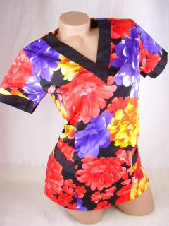 Women Nursing Scrub Purple Red Orange Floral Stretch Cotton Top Size M