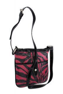 hot pink and black zebra crossbody bag black trim