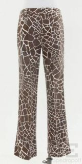 Brown & Cream Giraffe Print Cotton Lace Up Straight Leg Pants Sz40