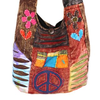 Daisy Embroidery Patchwork Trashy Chik Cotton Tie Dye Nepal Hobo Bag