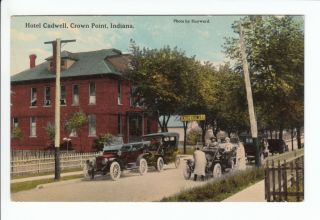 Hotel Caldwell Crown Point Indiana IN Old Postcard Lake County Vintage