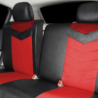 Synthetic Leather Semi Custom Car Seat Covers 40 60 Top Split Ruby Red