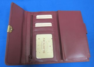 Buxton Burgundy Womens Amelia Organizer Clutch Checkbook Holder Snap