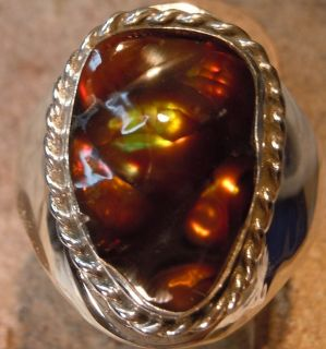 New Mens Sterling Silver Jewelry 10 61 Carat Fire Agate Gemstone Ring