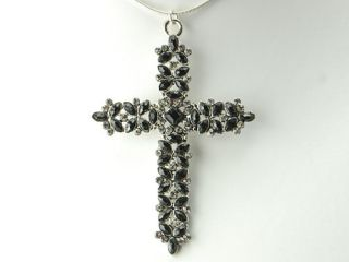 Grey Crystal Rhinestone Cross Vintage Inspired Custom Necklace Pendant