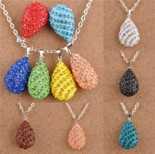 Austrian Crystal Pave Disco Drop Style Beads Necklace Pendants Charms