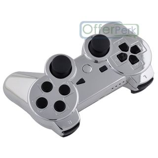 Chrome Silver Custom Shell Case for PS3 Controller with Black Buttons