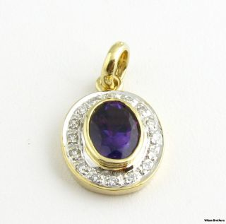 Amethyst & Diamond Pendant   1.37ctw & 14k Yellow & White Gold   Oval