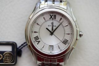 men s cyma stainless steel silver dial watch