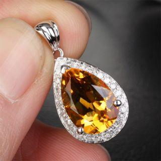Cut VS Citrine 14K WHITE GOLD Halo H SI DIAMOND PENDANT For Necklace