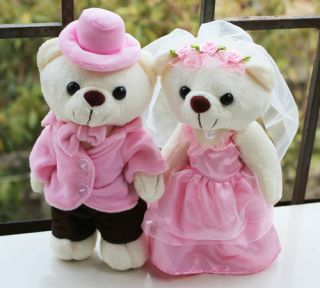 Couple Pink Standing Wedding Teddy Bear Stuffed Animals Wedding Gifts