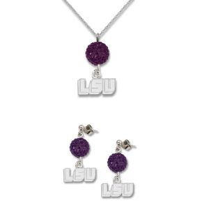LSU Tigers Ovation Crystal Necklace Earrings