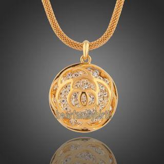 18K Yellow Gold GP Swarovski Crystal Rose Long Necklace N153