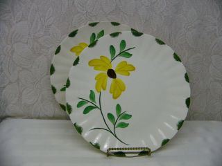 Blue Ridge Pottery China Cynthiana Two Dinner Plates Yellow Flower