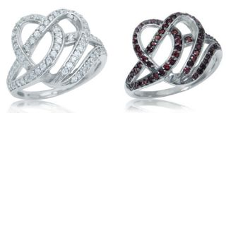 White CZ or Garnet Red CZ White Gold Plate 925 Sterling Silver Heart