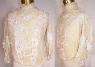 Vintage Victorian Antique Cream Net Lace Applique Cotton Bodice Blouse