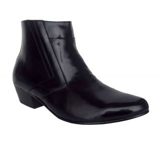 Italo 5631 Mens Black Leather Cuban Heel Side Zip Dress Boot