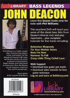 Bass Guitar Legends Lick Library John Deacon Queen DVD