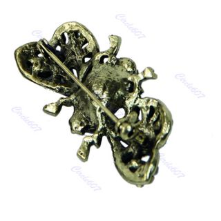 Lady Women Flying Bee Wasp Crystal Rhinestone Brooch Pin New